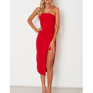 True Love Midi Dress in Red by White Fox Boutique
